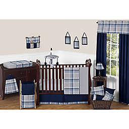 Sweet Jojo Designs Plaid Crib Bedding Collection in Navy/Grey