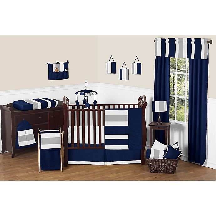 Alternate image 1 for Sweet Jojo Designs Navy and Grey Stripe Crib Bedding Collection