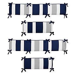 Sweet Jojo Designs Navy and Grey Stripe 4-Piece Crib Bumper Set