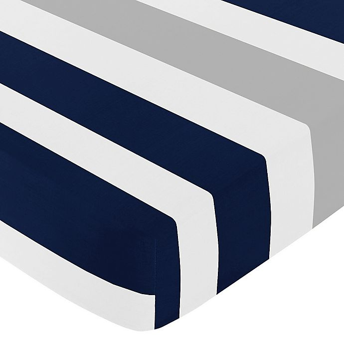 Alternate image 1 for Sweet Jojo Designs Navy and Grey Stripe Fitted Crib Sheet