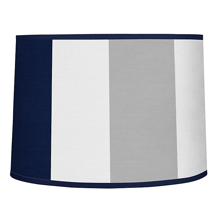 Alternate image 1 for Sweet Jojo Designs Navy and Grey Stripe Lampshade