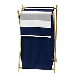 Sweet Jojo Designs Navy and Grey Stripe Hamper