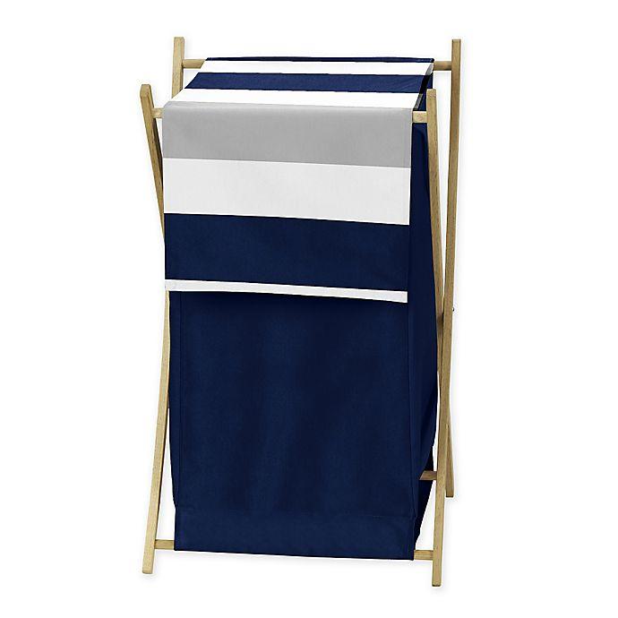 Alternate image 1 for Sweet Jojo Designs Navy and Grey Stripe Hamper