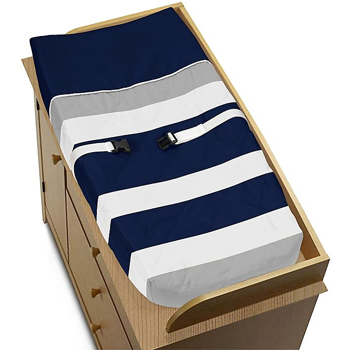 Alternate image 1 for Sweet Jojo Designs Navy and Grey Stripe Changing Pad Cover