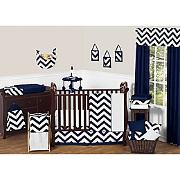 Sweet Jojo Designs Chevron Crib Bedding Collection in Navy Blue and White