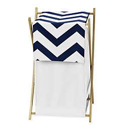 Sweet Jojo Designs Chevron Laundry Hamper in Navy/White
