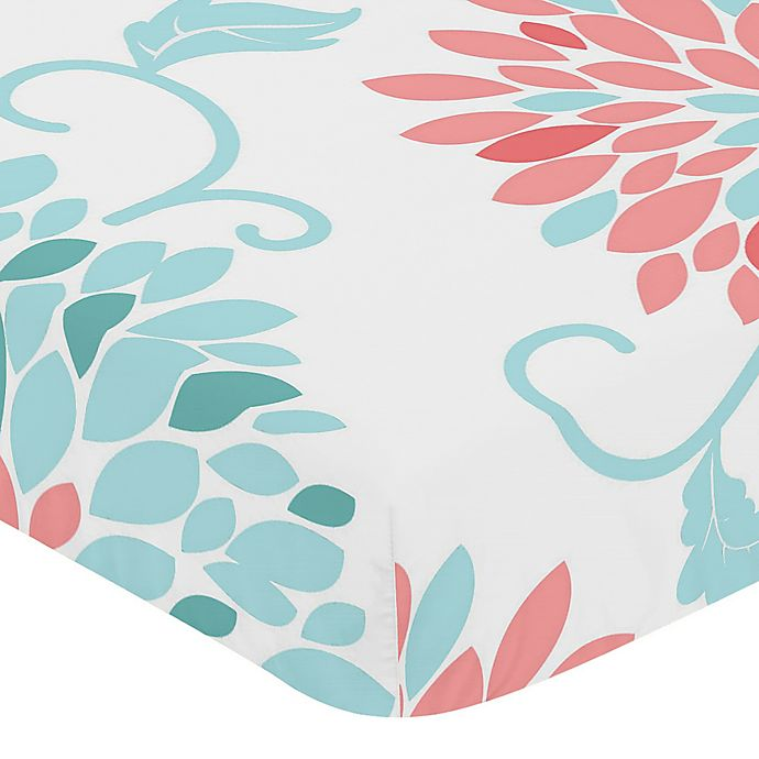 Alternate image 1 for Sweet Jojo Designs Emma Print Fitted Crib Sheet in White/Turquoise