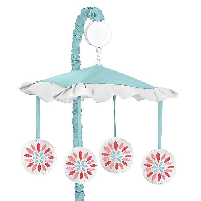 Alternate image 1 for Sweet Jojo Designs® Emma Musical Mobile in White/Turquoise