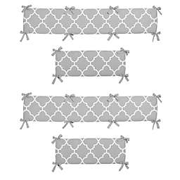 Sweet Jojo Designs Trellis 4-Piece Crib Bumper Set in Grey/White