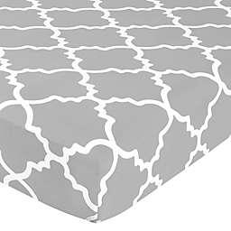 Sweet Jojo Designs® Trellis Lattice Print Fitted Crib Sheet in Grey/White