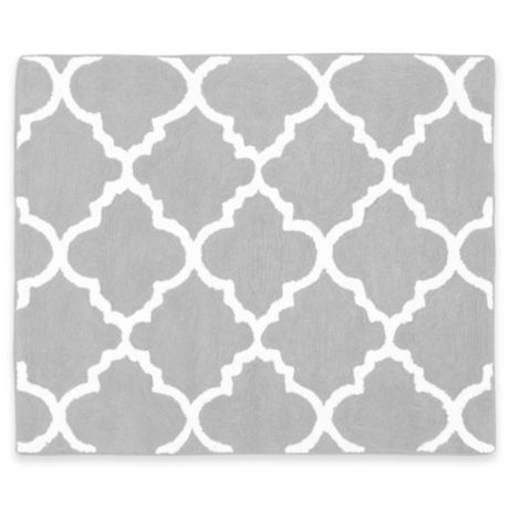 Sweet Jojo Designs Trellis Floor Rug In Grey White Bed