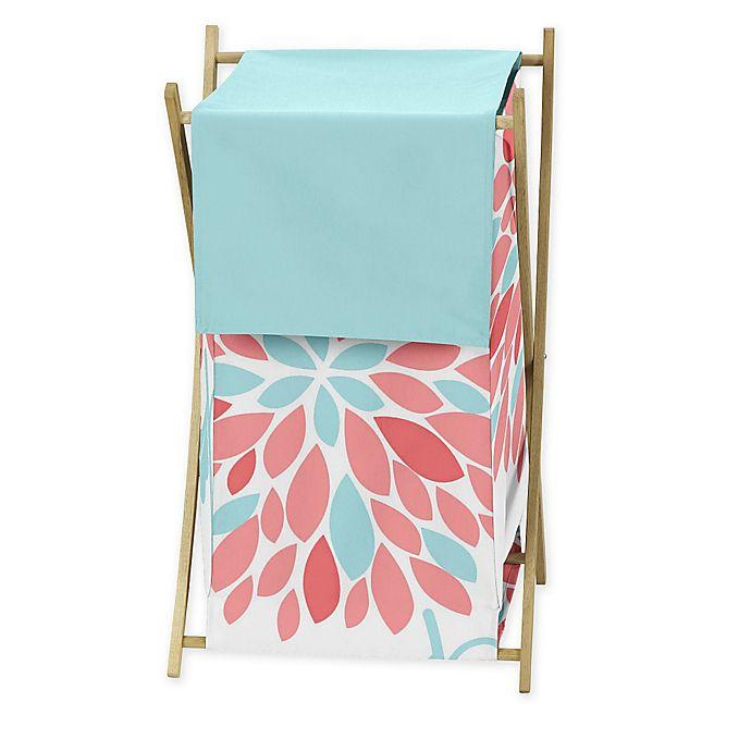 Alternate image 1 for Sweet Jojo Designs Emma Laundry Hamper in White/Turquoise