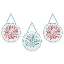 Sweet Jojo Designs® Emma 3-Piece Wall Hangings in White/ Turquoise