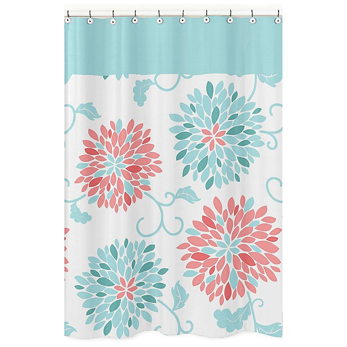 Alternate Image 1 For Sweet Jojo Designs Emma Shower Curtain In White Turquoise