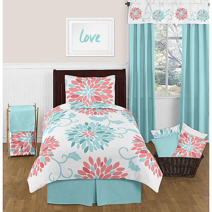 Alternate image 1 for Sweet Jojo Designs Emma Twin Comforter Set in White/Turquoise