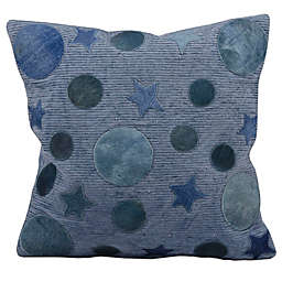 Mina Victory Leather Hide Moon and Stars 20-Inch Square Throw Pillow
