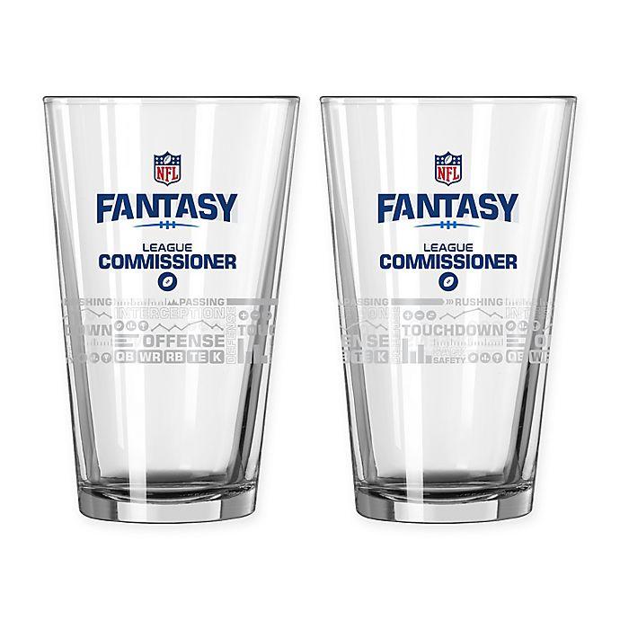 Alternate image 1 for NFL Fantasy Football League Commissioner 16 oz. Satin Etched Pint Glasses (Set of 2)