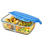 SmartPlanet 53 oz. Pure Glass Rectangular Bento Box in Blue