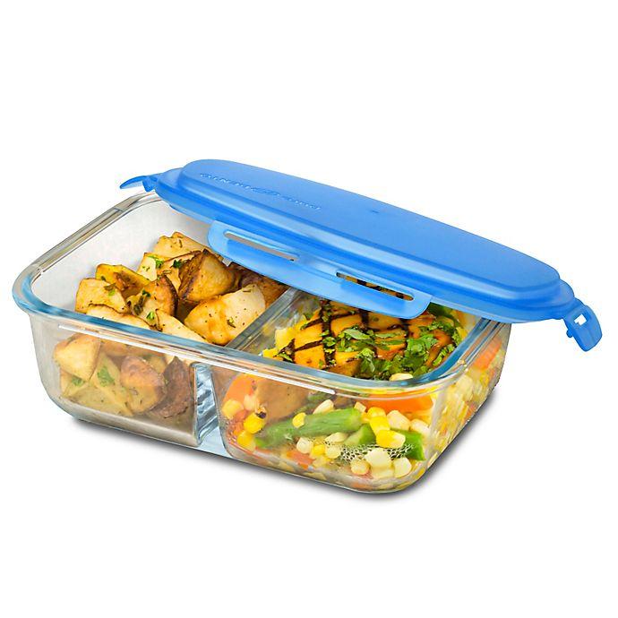 Alternate image 1 for SmartPlanet 53 oz. Pure Glass Rectangular Bento Box in Blue