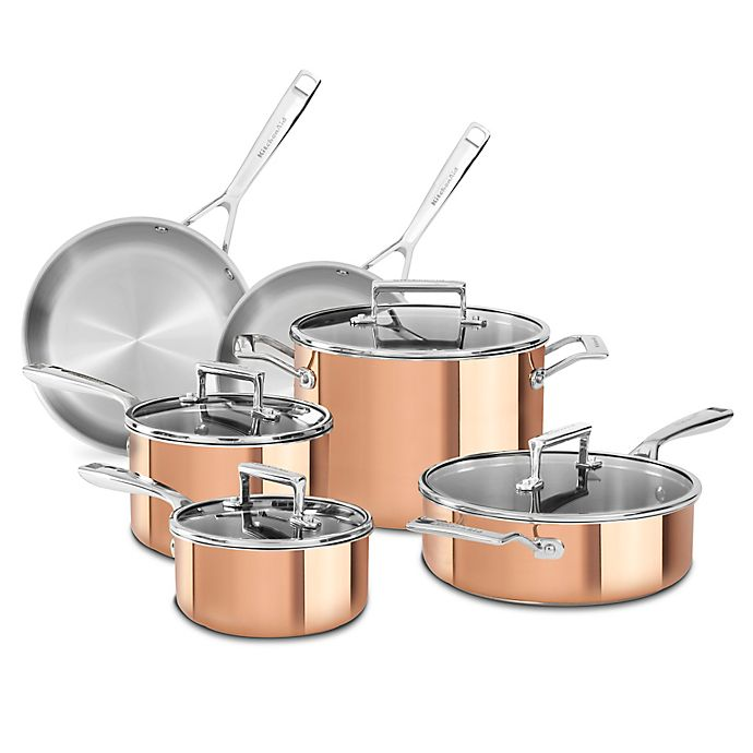 Alternate image 1 for KitchenAid® Tri-Ply Copper 10-Piece Cookware Set