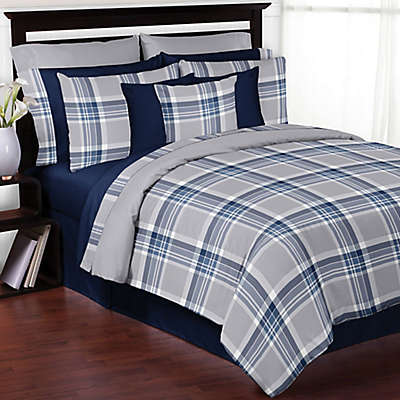 Sweet Jojo Designs Plaid Bedding Collection in Navy/Grey
