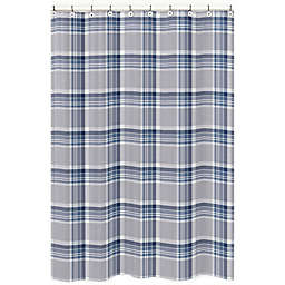 Sweet Jojo Designs Plaid Shower Curtain in Navy/Grey