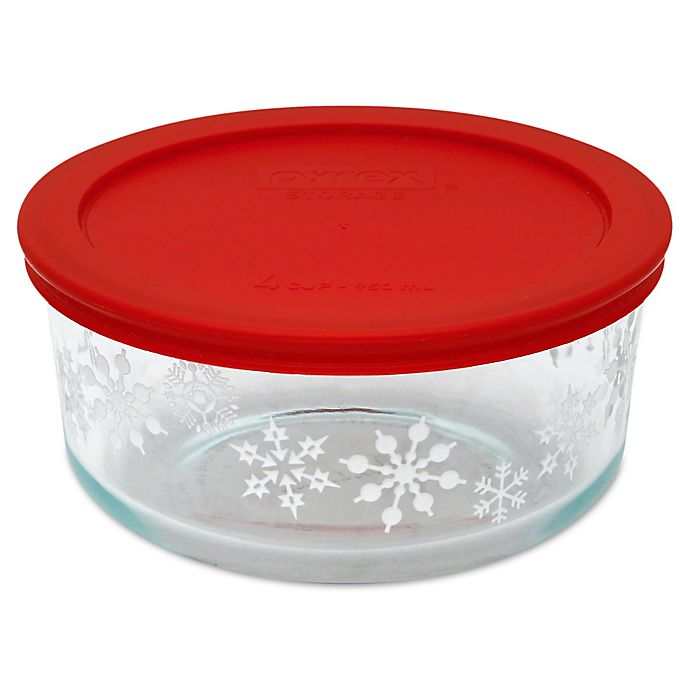Pyrex® 4-Cup Holiday Storage Container in Snowflakes   Bed ...