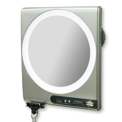 Z Fogless 5x 1x Power Zoom Lighted Shower Mirror Bed