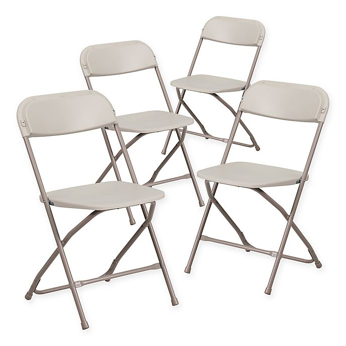 Alternate image 1 for Flash Furniture Plastic Folding Chairs in Beige (Set of 4)