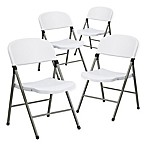 Flash Furniture Plastic Folding Chairs in Grey/White (Set of 4)