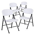 Flash Furniture Plastic Folding Chairs in Dark Grey/White (Set of 4)