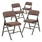 Flash Furniture Hercules Fabric 4-Pack Folding Chair in Beige
