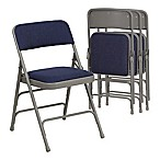 Flash Furniture Hercules Fabric 4-Pack Folding Chair in Grey/Navy