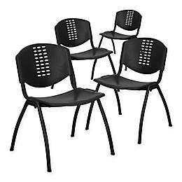 Flash Furniture Hercules Plastic Stack Chairs in Black (Set of 4)