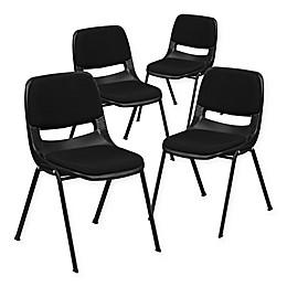 Flash Furniture Hercules Ergonomic Stack Chairs in Black (Set of 4)