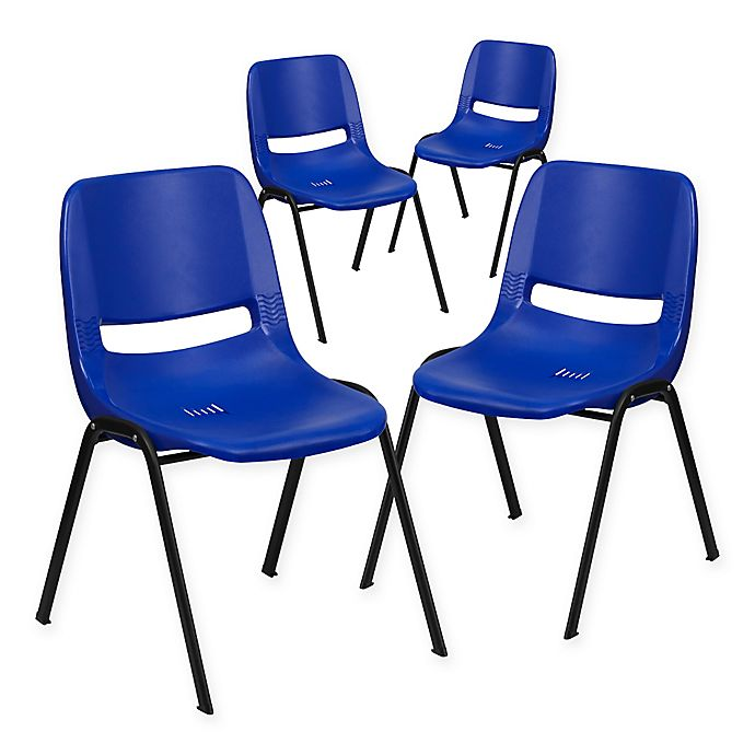 Flash Furniture Plastic Ergonomic Stack Chair Set Of 4