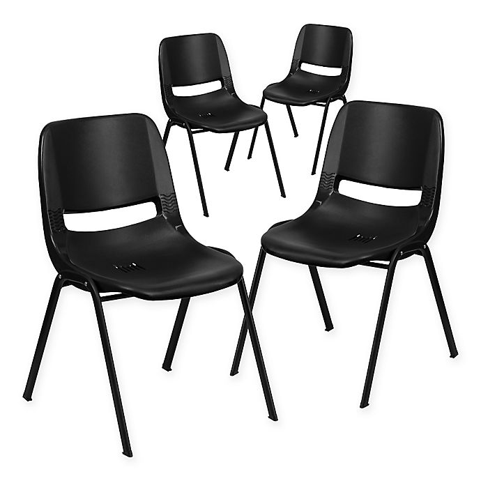 Alternate image 1 for Flash Furniture 16-Inch Plastic Stack Chair in Black (Set of 4)