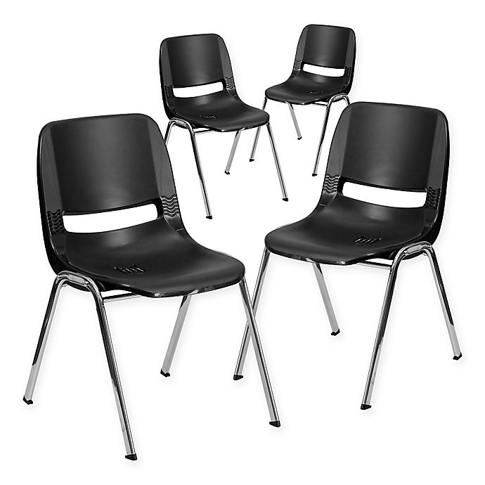 Alternate image 1 for Flash Furniture 16-Inch Plastic Stack Chairs in Black Chrome (Set of 4)