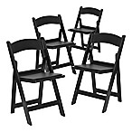 Flash Furniture Hercules Resin Folding Chairs in Black (Set of 4)