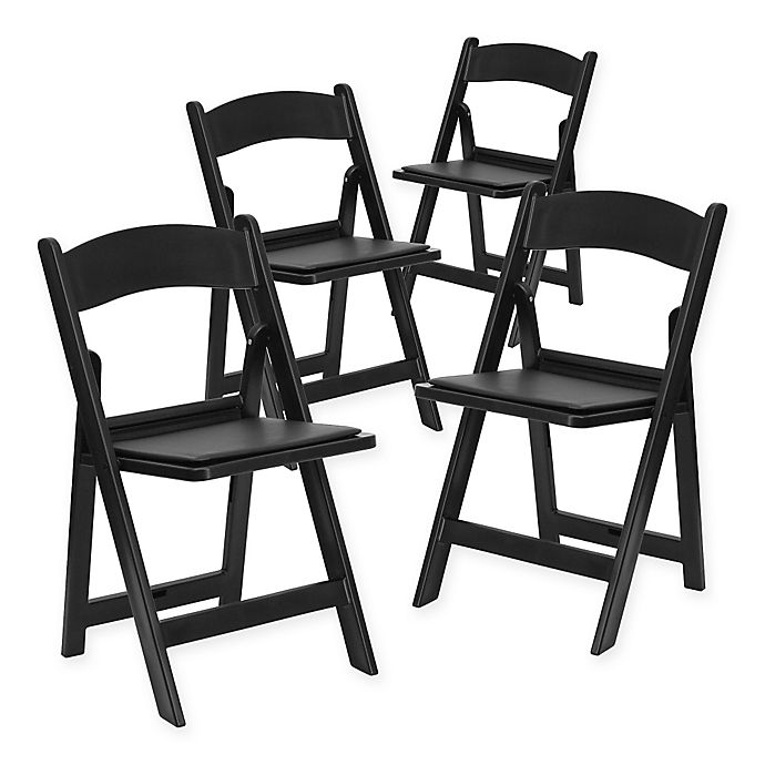 Alternate image 1 for Flash Furniture Hercules Resin Folding Chairs in Black (Set of 4)