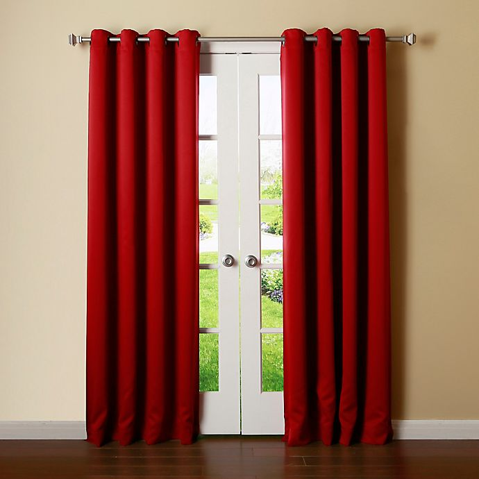 Alternate image 1 for Decorinnovation Basic Solid 63-Inch Room-Darkening Grommet Window Curtain Panel Pair in Red