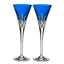 Waterford® Lismore Pops Toasting Flutes in Cobalt (Set of 2)
