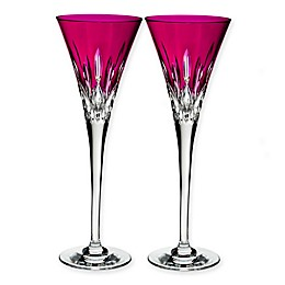Waterford® Lismore Pops Toasting Flutes in Hot Pink (Set of 2)