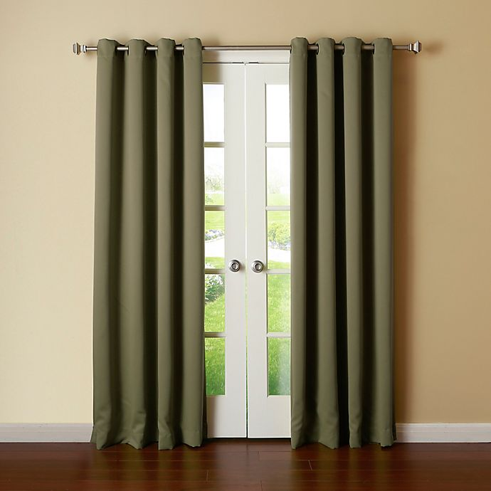 Alternate image 1 for Decorinnovation Basic Solid 84-Inch Room-Darkening Grommet Window Curtain Panel Pair in Olive