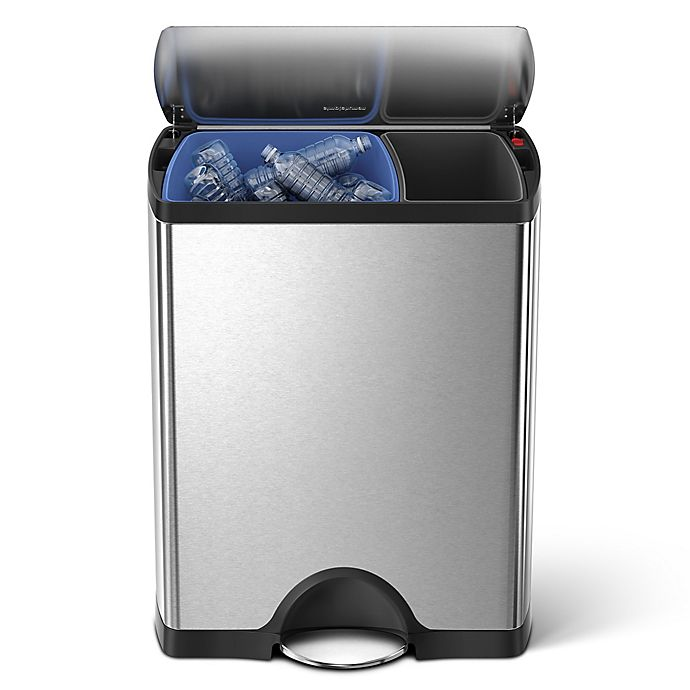 Alternate image 1 for simplehuman® Brushed Stainless Steel Fingerprint-Proof Rectangular 46-Liter Recycler Trash Can