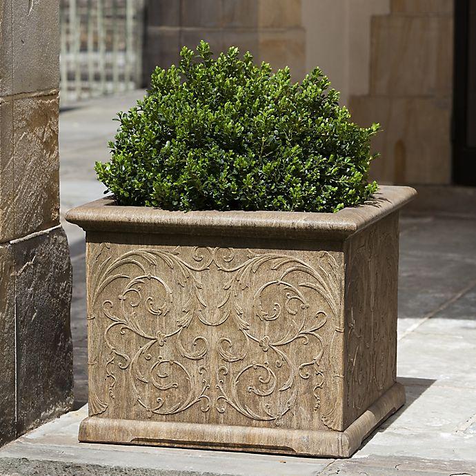 Alternate image 1 for Campania Arabesque 21-Inch Square Planter in Aged Limestone