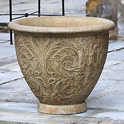 Campania Arabesque 25-Inch Round Planter in Aged Limestone