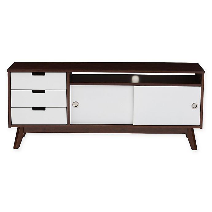 Baxton Studio Alphard Tv Cabinet In Dark Walnut And White