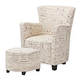 Baxton Studio Benson French Script Club Chair and Ottoman Set