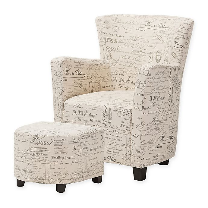 Alternate image 1 for Baxton Studio Benson French Script Club Chair and Ottoman Set